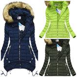 Зимняя женская куртка парка ассиметричная