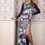Шикарное длинное вечернее новогоднее платье в пол