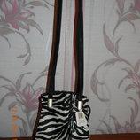 Шикарная сумка зебра на длинной ручке