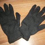 перчатки вязанные мужские чёрные двойная нить