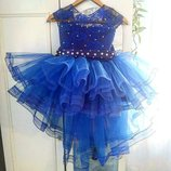 Нарядное детское платье праздничные снежинки синее на выпускной