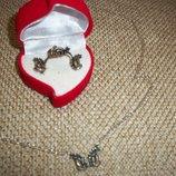 набор серебро Ангола серьги кольцо цепочка с подвеской
