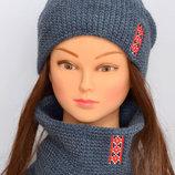 Шапка шарф хомут с вышивкой
