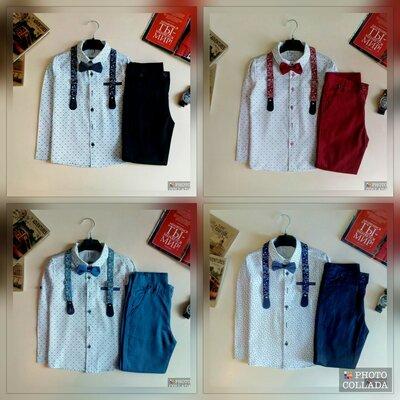 Праздничный костюм с бабочкой и подтяжками для мальчика, синий, темно синий, красный, черный