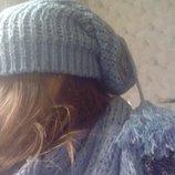 Стильный модный комплект шапка-колпак и двойной шарф