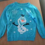 свитер девочке 5-7 детский батники анна ульза снеговик в школу bina девочке голубой снеговик