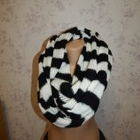 Лаконичный черно-белый вязаный теплый женский шарф