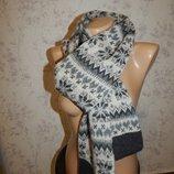 Лаконичный зимний вязаный шарф женский/мужской