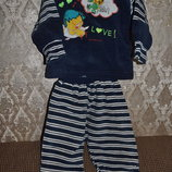 Костюмчик тёплый велюровый с беретиком для мальчика 1- го- 2-х лет