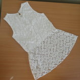 платье туника белое детское 11-12 л новое кружево нарядное Young Dimension трико черное