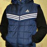 Жилетка мужская Adidas темно-синяя под резинку.