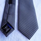 Мужской галстук узкий в мелкую клетку черный синий George