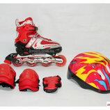 Ролики набор Combo Heppy, колеса PU, Abek 7 Red, красный