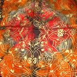 платок шелк принт Золотые цветы 90Х90 идеал Hermes Chanel косынка