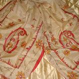 шаль шарф шелк Золотая нить ручная работа 53Х155 Hermes Chanel платок косынка