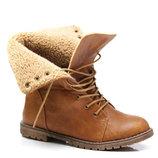 Отличные зимние ботинки на рифленой подошве песочного цвета TRAPERY 36-41 код 6509181535
