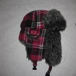 шапка ушанка с мехом, средний размер