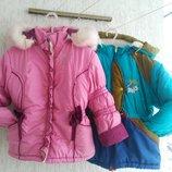 Зимние курточки на девочку с капюшоном 3-5 лет
