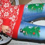 джинсы бойфренд новогодние ручная роспись крутые новые
