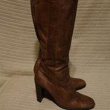 Мягчайшие коричневые кожаные сапоги на высоком каблуке River Island
