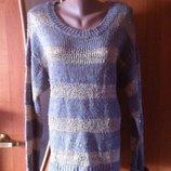 Нарядный коричнево-золотой классный полосатый джемпер свитер