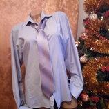 Шикарная рубаха рубашка М галстук в подарок 46-48 р