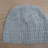 Шапка детская девочке 4-8 л зима серая теплая ангора вискоза M&Co