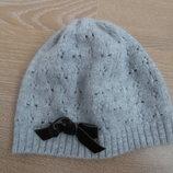 шапка серая бант 3-6 л нежный детский оригинал модная H&M НМ шерсть ангора