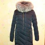 Хит зимы Куртка удлинённая с натуральным мехом чернобурки L