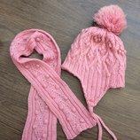 Зимние комплекты шапки-ушанки двойные и шарфики