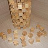 Кубики деревянные 100 штук - 2, 3, 4, 5 см