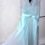 Нарядное бирюзовое платье с шифоном, бренд debenhams