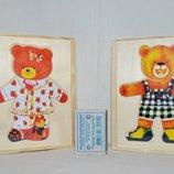 Деревянная игрушка Гардероб одень мишку мальчик девочка - пазлы геометрика