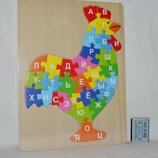 Деревянная игра рамка - вкладыш пазлы с буквами алфавит Сова Петушок с подсказой