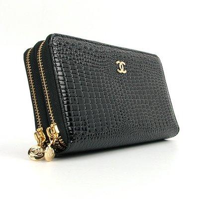 Кошелек клатч женский на змейке кожаный черный Chanel 9049  1100 грн ... de4050f4743