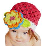 Милая вязанная шапочка для принцессы 0-3 годика.