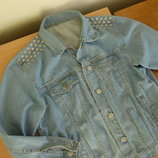 Пиджак джинсовый рр М подростковый женский Голубой Модный Стильный