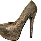 Золотые комбинированные туфли