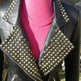Куртка косуха из натуральной кожи с крабами