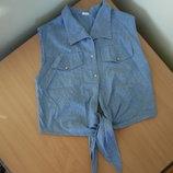 Рубашка джинсовая женская 38 размер 100% котон футболка майка лето без рукавов