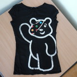футболка черная мишка 8 36 рр женская девочке подростковая George Джорж