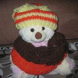 Новый вязаный женский комплект - шапка и снуд, недорого