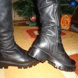 Кожаные зимние сапоги на цигейке европейка. Без дефектов. 38 размер