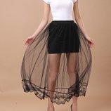 стильная женская юбка фатин кружево