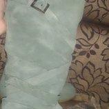 стильні зелені чоботи замша р37