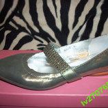 Новые кожаные туфли золотистые 34,5-35