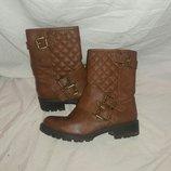 Ботинки стеганные рыжие 36-37размер
