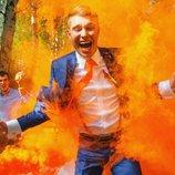 Ручний кольоровий дим димова шашка , помаранчевий, 60 сек., виробництво Польща