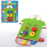 Деревянные игрушки шнуровка для малышей пуговицы рубашка