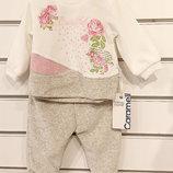 велюровый костюм двойка на девочку 3-6-9-12 месяцев